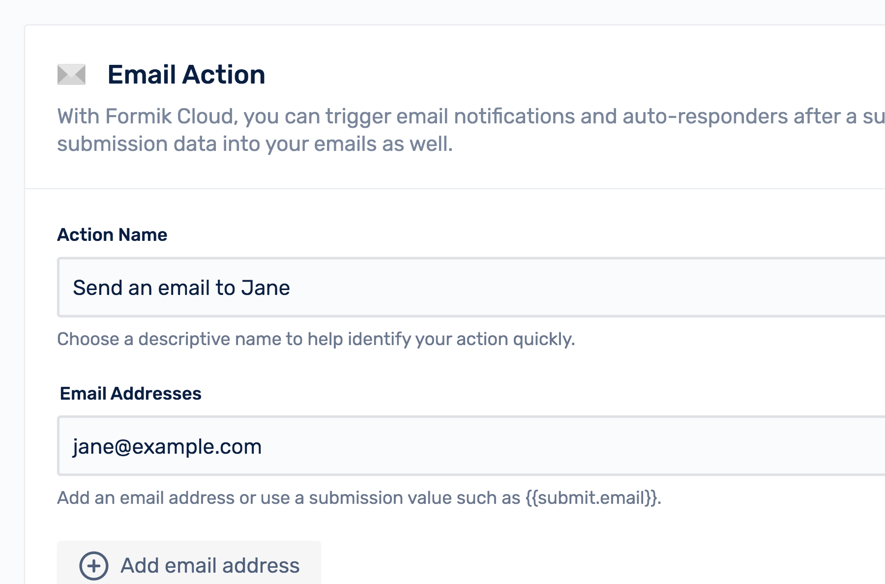 Email action form